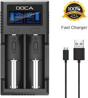 DOCA 2-Bay Speedy Universal Battery Charger,18650 Smart Li-ion Battery Charger with LCD Display for