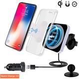 QI Wireless Car Charger with QC3.0 USB Charger, DOCA Magnetic Wireless Car Charger Mount Air Vent Ca